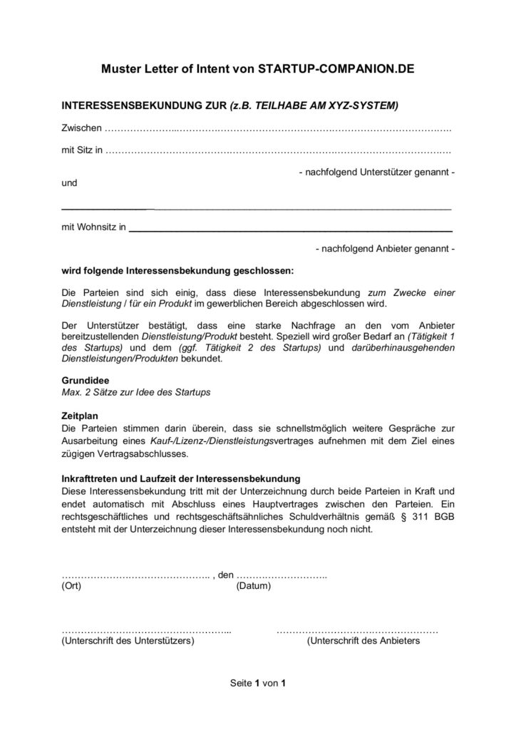 Letter Of Intent Vorlage Shouldirefinancemyhome